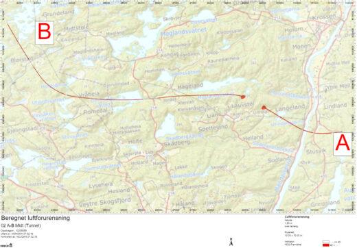 Kart av over E39 strekning Mandal - Lyngdal Øst