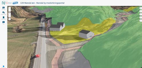 3D-modell over nye E39 mandal øst. Illustrasjonen viser hvordan vegen vil gå mellom boligområde og naturområde