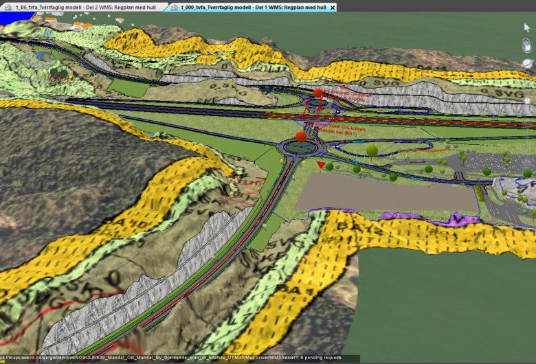 3D-modell over område hvor nye E39 Mandal - Lyngdal skal gå. Bildet er fra fugleperspektiv og viser hvordan veien vil gå ift fjellene og landskapet som allerede finnes