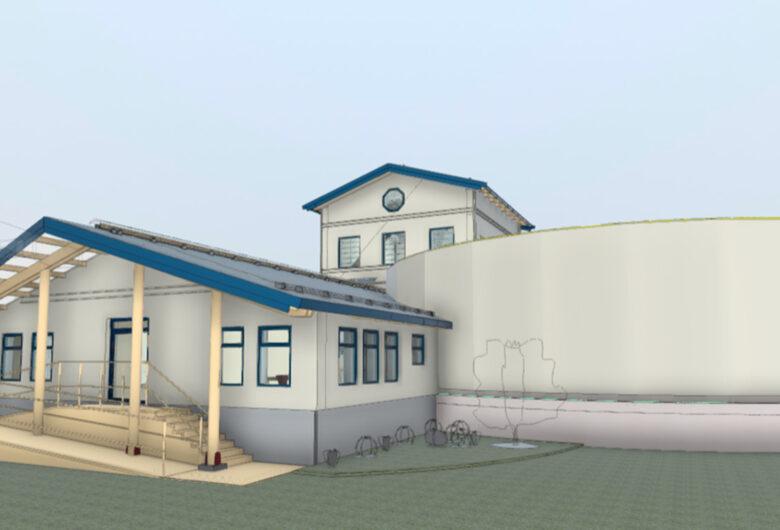 Bildet illustrerer det nye Granli vannverk. Et stort hvitt bygg med blå kanter. Et stort basseng, i tillegg til hus.