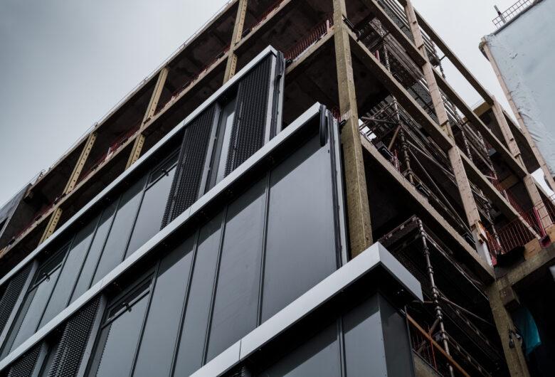 Haugesund sykehus under bygging, bilde av fasaden
