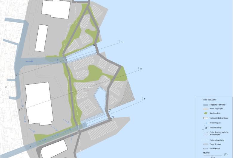 Kart over sjøen fra fugleperspektiv. Viser grøntområder, industriområder, havområder og eksisterende bygninger