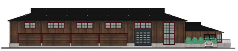 Illustrasjon av den nye lagerhallen for BaneNOR. Bygget er laget av materialet tre, med røde karmer.