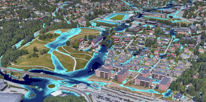 Bildet viser en 3D-modell av et kart over Nadderud og hvor overvannet vil ta veien
