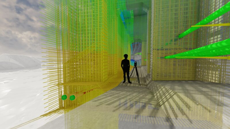 Bildet viser 3D-modell av innsiden av Randselva Bru