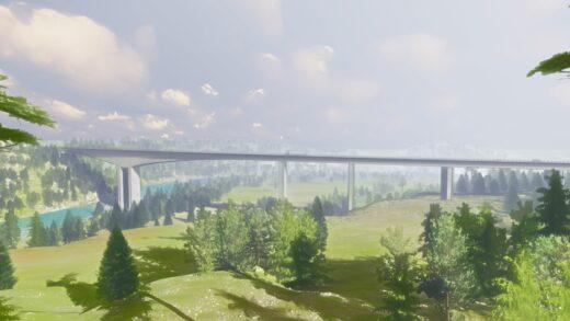 Illustrasjon av Randselva bru med grønn skog og blå himmel