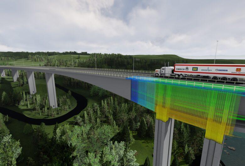 Bilde viser 3D-modell av Randselva Bru med en lastebil som kjører over