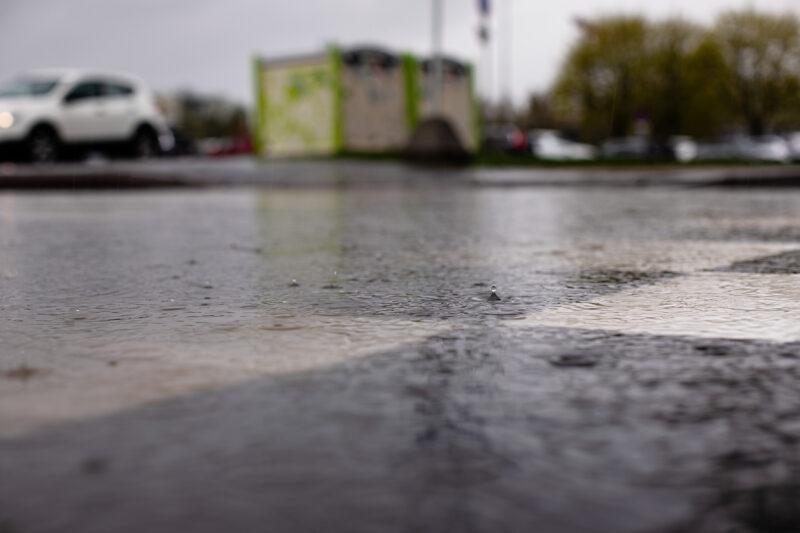 Bildet viser et overgangsfelt fra et froskeperspektiv, og hvordan overvannet legger seg på asfalten.