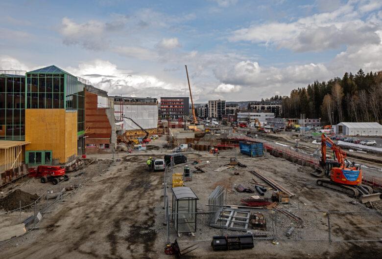 Byggeplass på triaden kjøpesenter i lørenskog