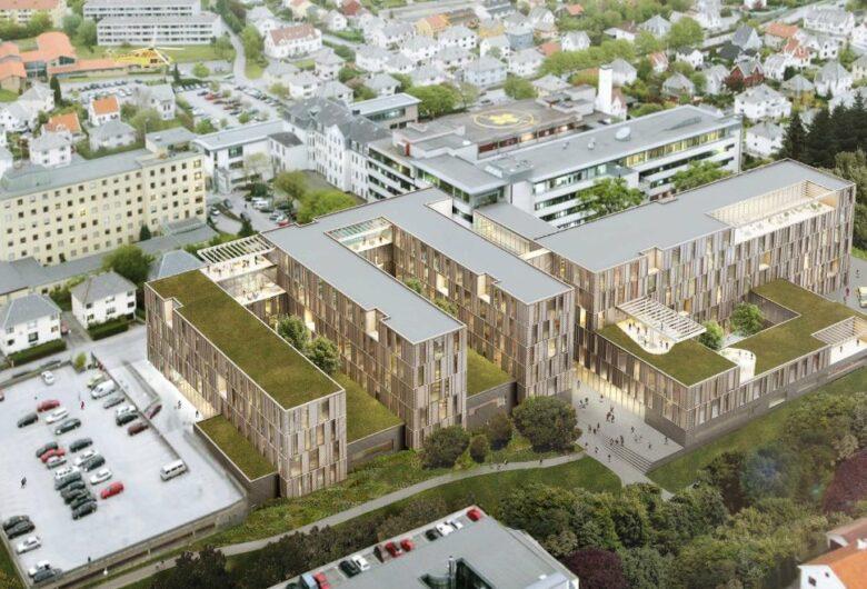 Bildet viser hele nye Haugseund sykehus ovenifra