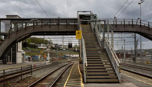 Intercity Moss, stasjonsområde bro mellom spor