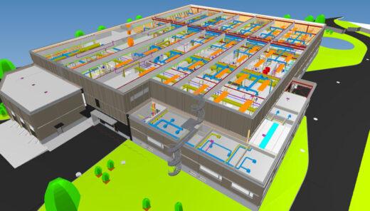 BIM-modell som viser tekniske installasjoner i renseanlegg