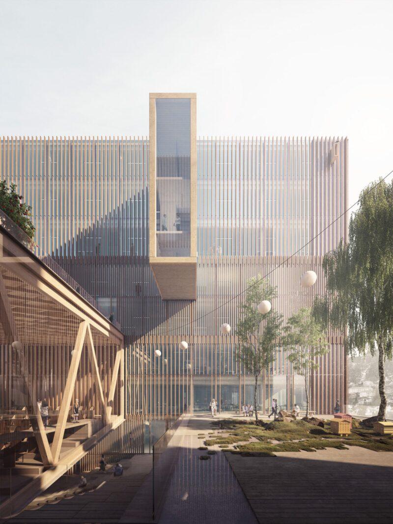 Bildet er en illustrasjon av det nye fylkeshuset i Bergen sett utenifra. Bildet viser et moderne bygg med store vinduer og tredetaljer, samt grøntareale utenfor.