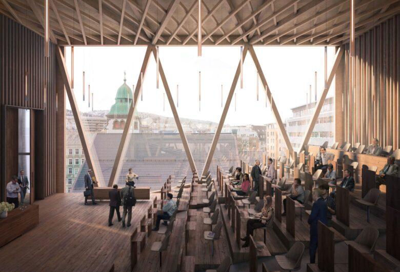 Bildet viser en illustrasjon av hvordan auditoriet i fylkestingssalen i Bergen vil se ut. Vegger, gulv og tak er i tre, samt møblene. Vinduet dekker en hel vegg.