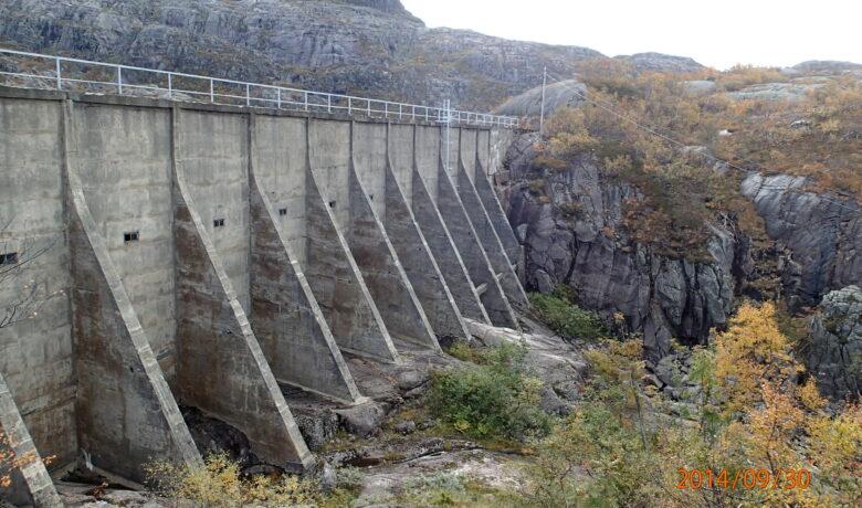 Dam Finnflot før rehabilitering. Dam sett fra baksiden. høsten 2014