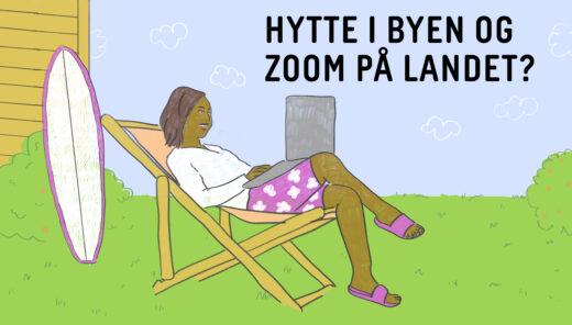 Invitasjon til frokostseminar, illustrasjon av dame som sitter i en strandstol og jobber på laptop, mens surfebrettet står lent mot en hytte vegg. Det er grønt gress og blå himmel.