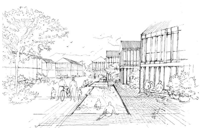 En tegning som viser mennesker som sitter i fellesområdet mellom husene. Her er det en dam og grøntarealer.
