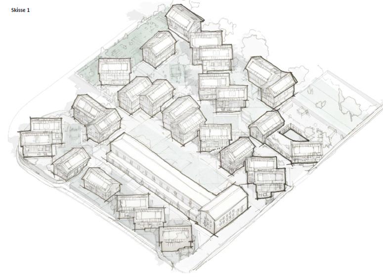 En skisse over smartbyen Montana. Her er husene tegnet på skrå i flere forskjellige retninger, for å optimalisere plassen. En stor blokk i midten og hus og grøntarealer rundt.