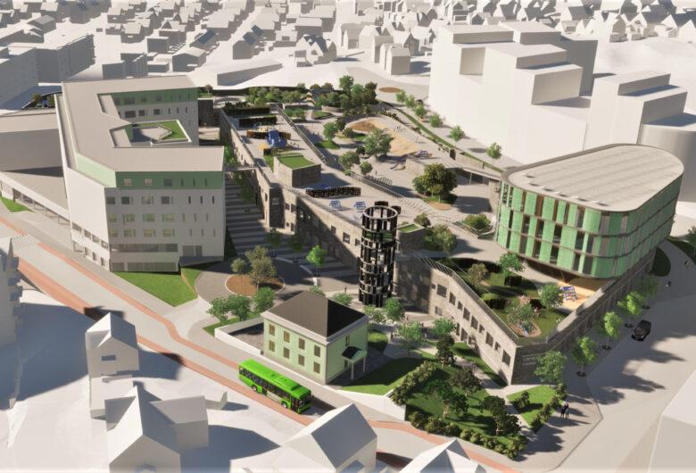 Illustrasjon av Lervig. Et stort bygg i grønt og grått. Mange grøntarealer og trær utenfor. Opptil seks etasjersbygg, og busser utenfor.