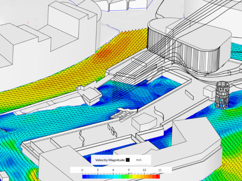 Vindsimulering. Bildet viser hvordan vinden vil oppføre seg ift til bygningen. Bygningen er tegnet i grått, og vinden i blått til rødt etter hastighet.