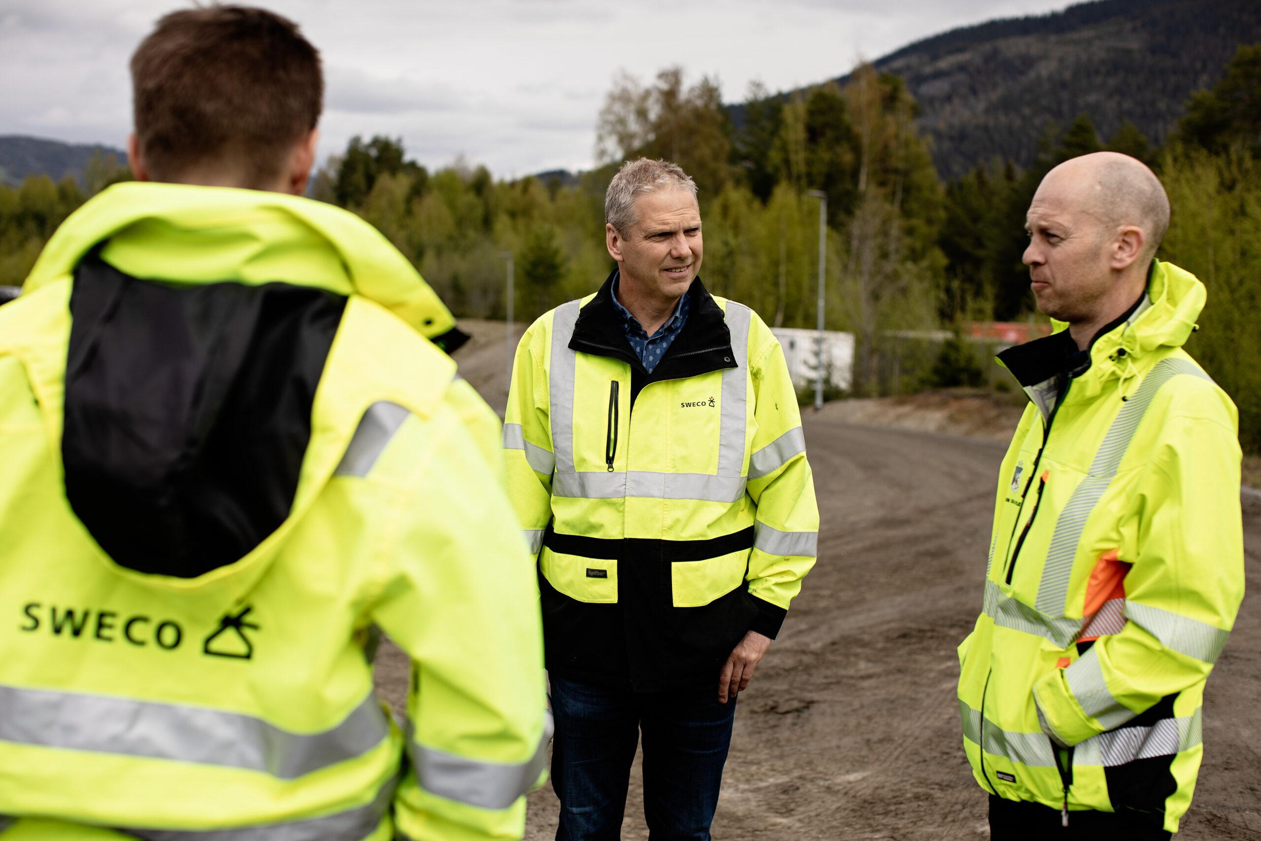 Fire rådgivere på byggeplass ved Lillehammer vannverk