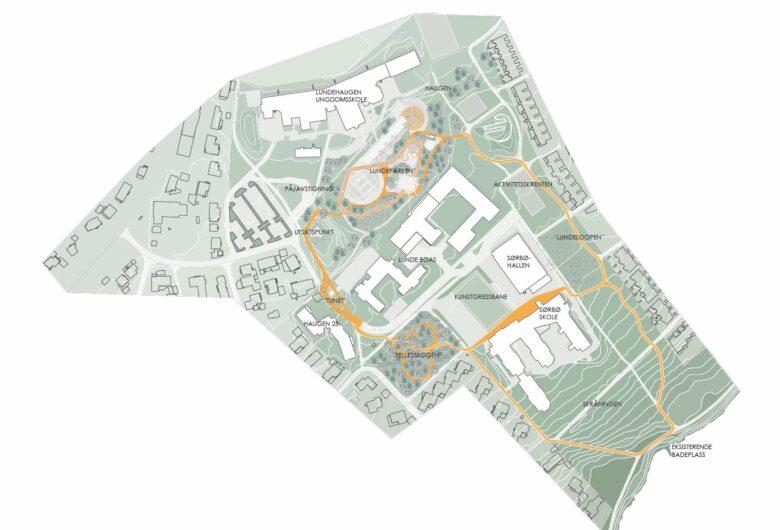 Illustrasjon av Lundehaugen sett ovenifra. Viser hvor gaten vil gå ift husene og flere grøntarealer