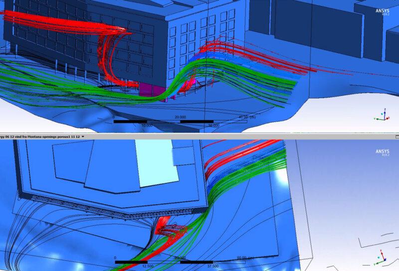 Illustrasjoner av hvordan vinden vil treffe bygget. Røde og grønne streker gjennom et blått bygg.
