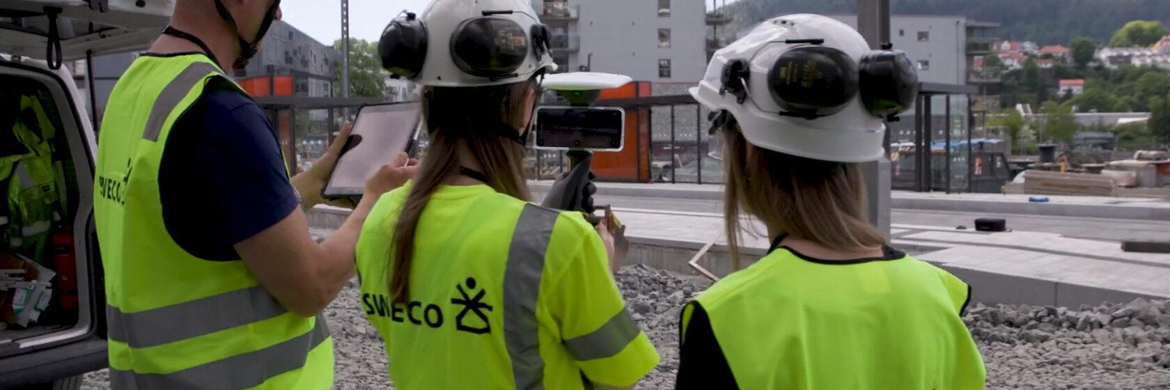 Ingeniører på byggeplass bybanen