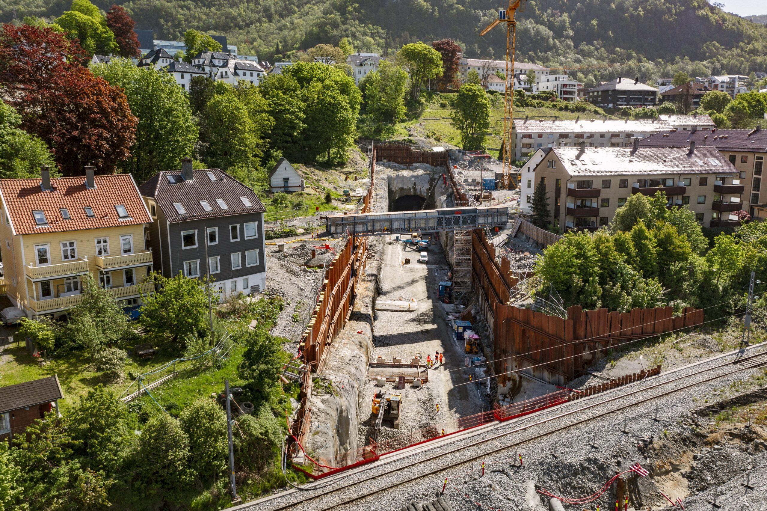 Bybanen under bygging, oversikt over parsellhagen