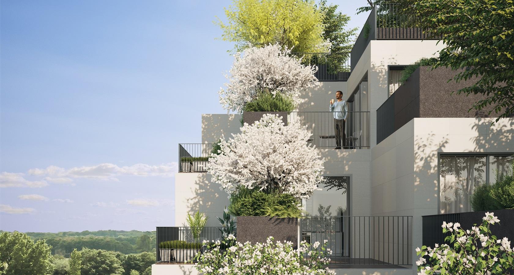 Illustrasjon av et bygg hvor det vokser grønne planet på hver eneste balkong